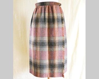 Vintage 1990s Plaid Wrap Wool Skirt Sz Medium