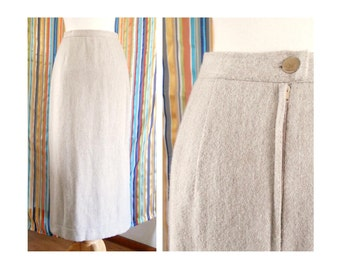 Taupe Thick Wool Skirt Vintage Beige Size Small
