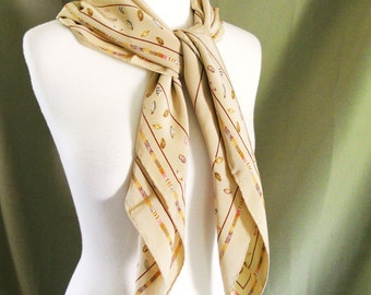 Vintage Silk Beige Tan Beach Seashell Square Neck Head Scarf