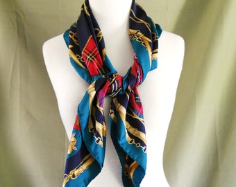 Vintage Royal Equestrian Plaid Square Neck Head Scarf