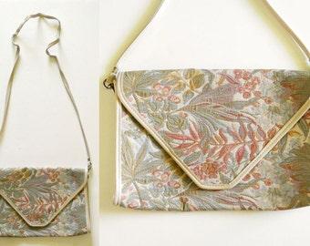 Vintage Floral Tapestry Large Envelope Tote Bag Purse