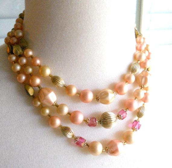 Vintage 1980's Arabian Princess Pink Pearl Gold Beaded Necklace Choker