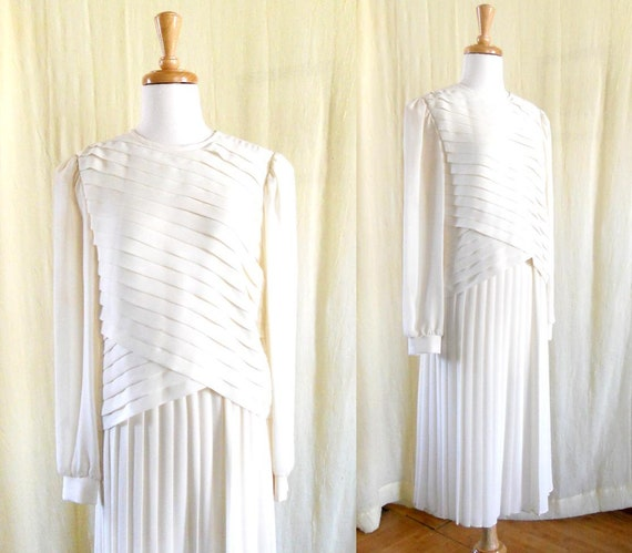 Vintage 1980s Tiered Pleated White Beige Tunic Dress Sz 10 Lisa Michaels