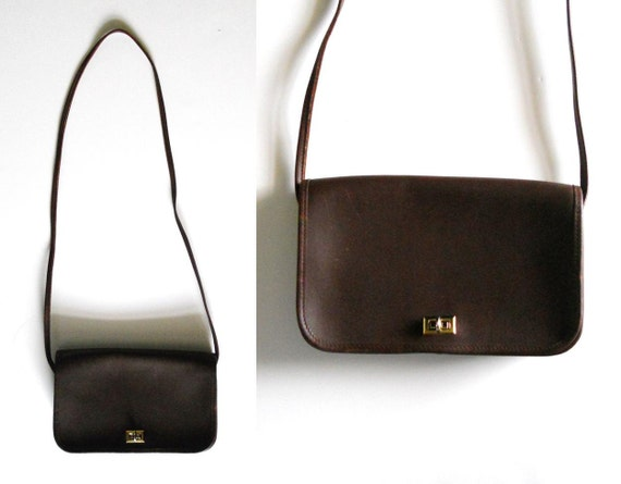 Vintage 1970s Chocolate Brown Leather Purse Shoulder Bag