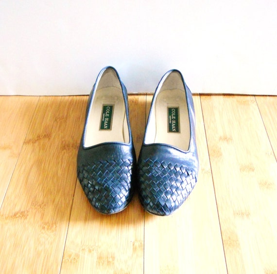 Vintage 1980s Navy Blue Woven Leather Flats Sz 7 B Euro 37.5 Cole Haan