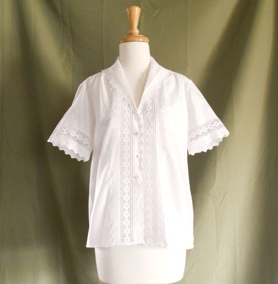 Vintage 1960s Embroidered Lace White Blouse Shirt Sz 8