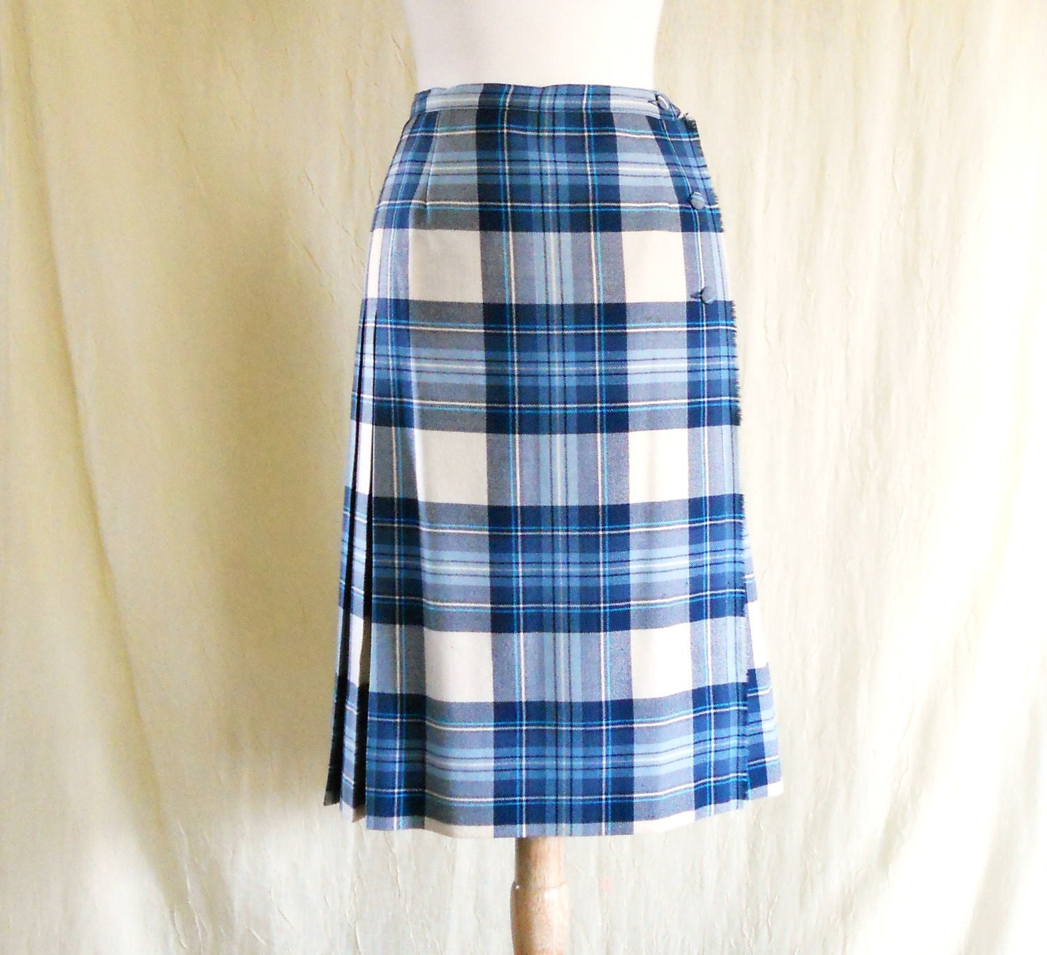 vintage 1970s blue school pleated plaid wool wrap skirt
