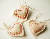 Lovely Embroidered Heart Felt Garland