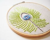Peacock Feather Hand Sewn Embroidery Hoop Art