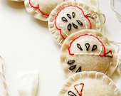 Evolution of Eating an Apple - Autumn Embroidery Felt Garland - ON SALE