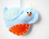 Tufted Bird Christmas Ornament in Sky and Orange