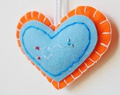ON SALE - Pleasure Molecule Heart Ornament - Dopamine Molecule Embroidery - Chemistry Science - Merino Wool Felt in Orange and Blue