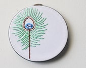 Modern Peacock Feather - Hand Sewn Embroidery Hoop Art - Bohemian Natural Boho Chic