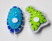 Science Microbe Magnet Pair - Amoeba and Paramecium Felt Magnets - Biology Microbiology Geeky - whatnomints