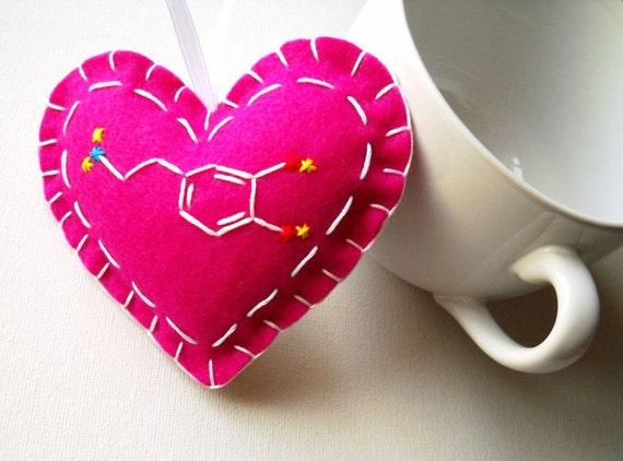 Dopamine Molecule Heart Ornament in Raspberry Blueberry - Chemistry Love Felt Ornament - What No Mints