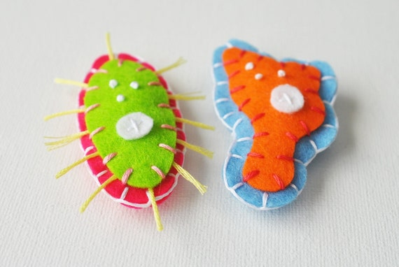 40% OFF SALE - Neon Microbe Magnet Pair - Amoeba and Paramecium Felt Magnets - Science Biology Microbiology Geeky