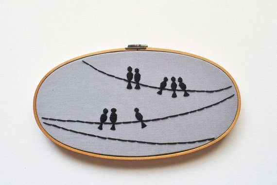 The Birds - Birds on a Wire Silhouette - Minimalist Industrial Embroidery Hoop Art - Fathers Day Gift