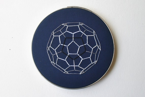 Buckyball Carbon Sphere in Navy Blue - Embroidery Hoop Art - Geometric Chemistry Science Industrial