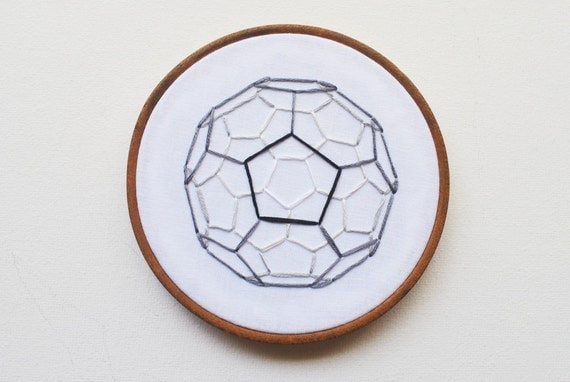 Buckyball Carbon Sphere - Embroidery Hoop Art - Geometric Chemistry Science Minimal Industrial