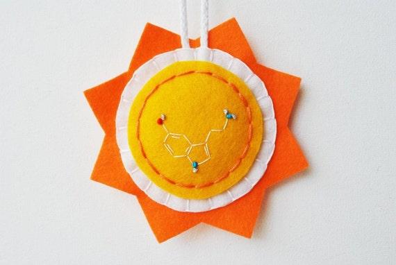 Happy Molecule Sun Ornament - Serotonin Embroidery - Wool Felt in Orange and Yellow -  Science Chemistry Psychology