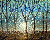 "Fine Art ""Reflections""   24x36 ...HUGE handpainted acrylic Canvas Trees Contemporary"