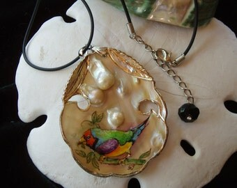 A Beautifull Lady Gouldian Finch Bird/ Hand Painted Bird on Natural Mother of Pearl Shell Pendant Necklace/ Sterling Silver