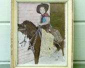 Vintage Cowgirl Photograph in a Frame