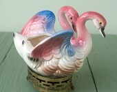 Flamingo Ceramic Planter with Metal Base