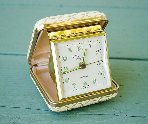 Butter Yellow Vintage Travel Alarm Clock made in Western Germany