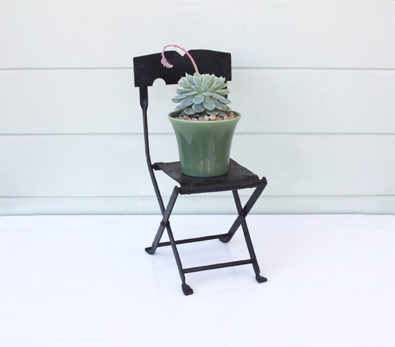 Items Similar To Small Black Metal Folding Chair On Etsy