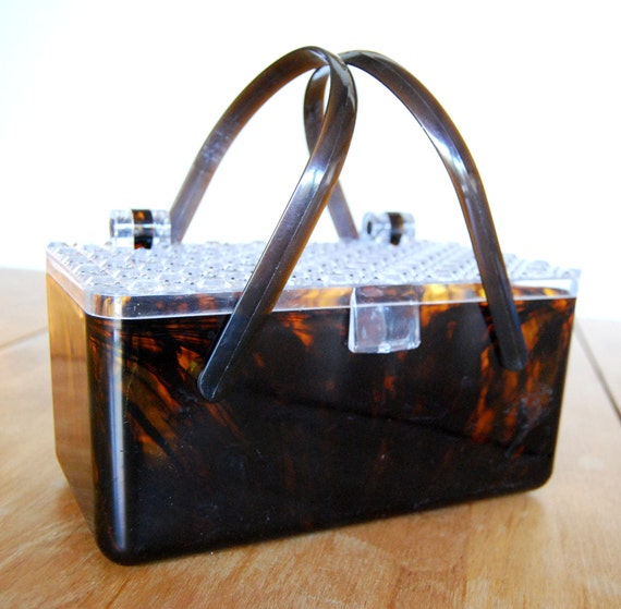 Vintage 1950s Faux Tortoise-shell Purse