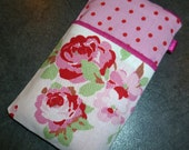 iPhone 3 or 4, iPod Touch or HTC Desire Phone Cover Handmade in England with IKEA Cath Kidston Rosali Pink Polka Dot and Floral Fabric