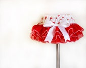 Red ruffled baby bloomers diaper covers  strawberry print  photo prop