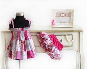 Baby girl dress and ruffled baby bloomers diaper covers patchwork print in peasant style