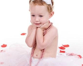 Tutu skirt ruffled baby bloomers diaper covers vintage style - white petit ballerina - photo prop