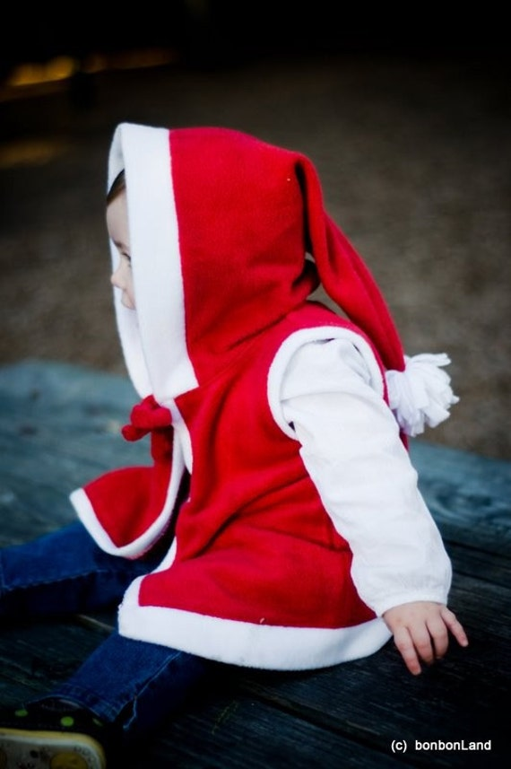 XMAS SALE Red and White  Hoodie Fleece Vest with funny tassel Pompom - photography prop