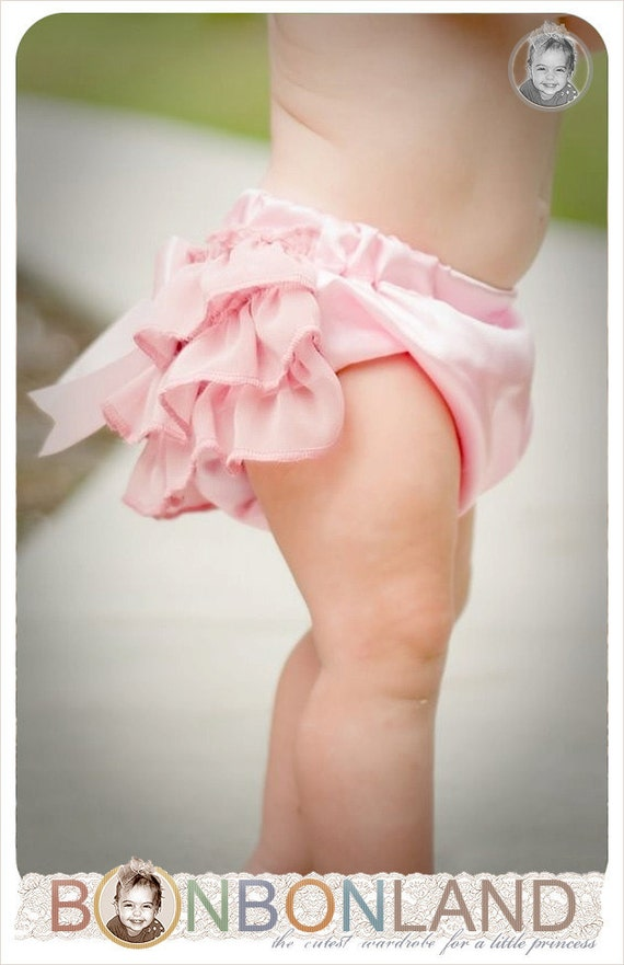 "Pink ruffled baby bloomers diaper covers ""Pink Delight"" in vintage glamour style - photo prop sale"