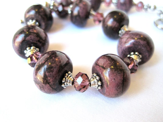 Bracelet Deep Purple Sugilite Amethyst Crystals Silver Accents