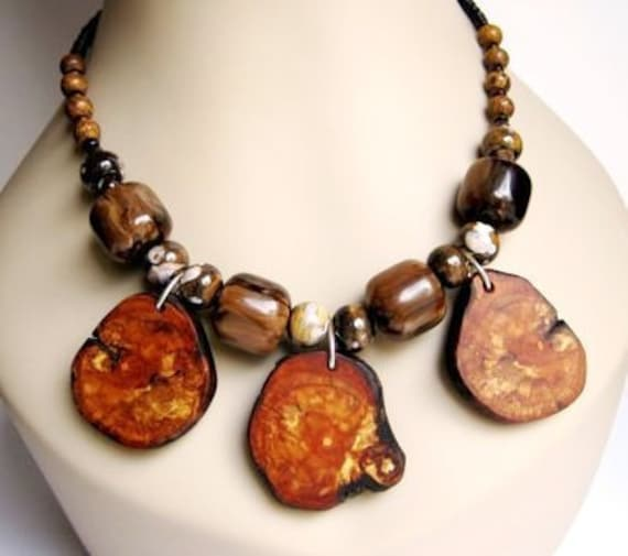 Wooden Necklace, Apple Wood Pendants, Brown Jasper, Ceramic Beads, Statement Necklace, Eco Friendly, Natural Wood, Tree Branch Jewelry
