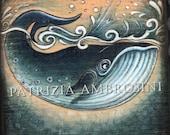 Handpainted art block on wood - northern whale - ORIGINAL Painting collectible sea ocean  NOT print