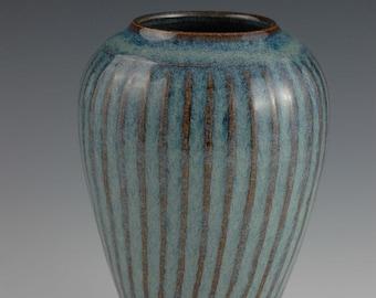 Faceted Variegated Blue Stoneware Vase