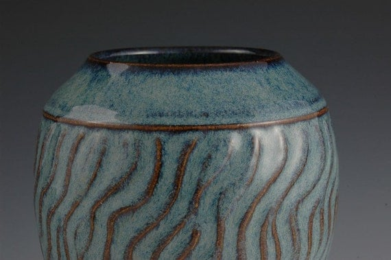 Classical Blue Vase -  Wheel Thrown and Hand Faceted