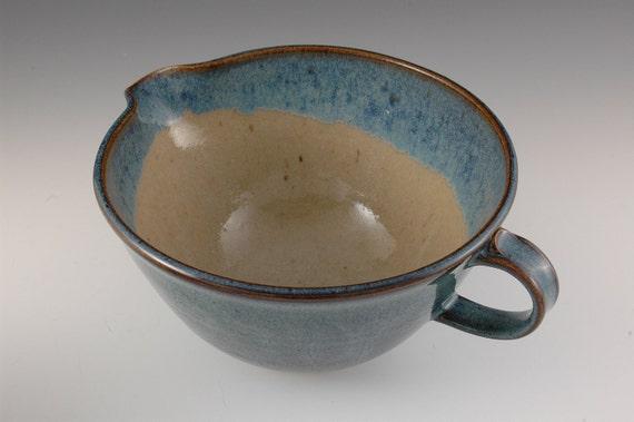 One Quart Blue Stoneware Batter / Mixing Bowl