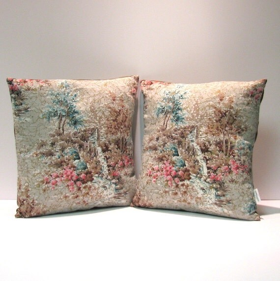 Pair of Vintage Shabby Chic Barkcloth Pillows - The Old Mill