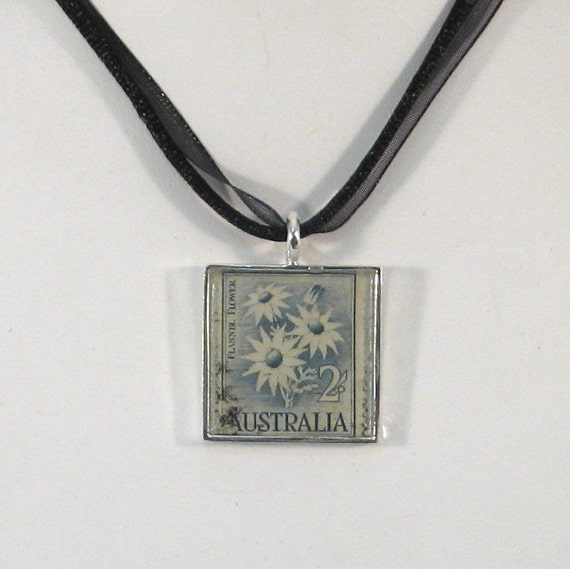 Vintage Australia Postage Stamp Necklace - Flannel Flowers