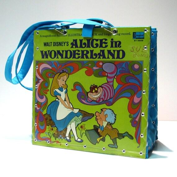 Vintage Walt Disney's Alice In Wonderland Record Album Handbag Tote Purse