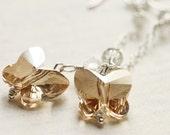 Spring Wedding Golden Butterfly Swarovski Crystal Sterling Silver Earrings - Golden Butterflies