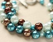 Beach Summer Wedding Bridesmaid Jewelry Pearl Cluster Bracelet - Atlantis