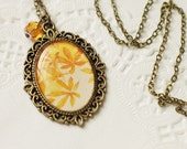 Autumn Leaves Vintage Art Pendant Necklace v1.0