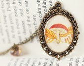 Autumn Woodland Vintage Art Pendant Necklace - The Little Mushroom